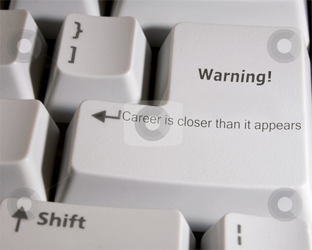 Warning stock photo, Enter key with career warning by Ira J Lyles Jr