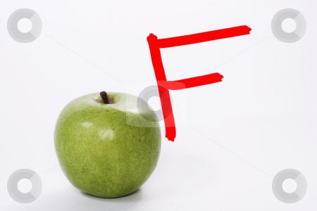 Teachers Apple stock photo, A teachers apple with a failing grade by Matt Baker