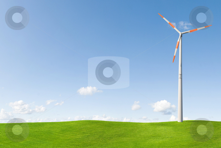 Wind turbine stock photo, Wind turbine on grass landscape by Jan Martin Will