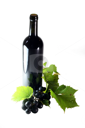 Red Wine stock photo, Red wine bottle with grapes and green leafs isolated on white by Jan Martin Will