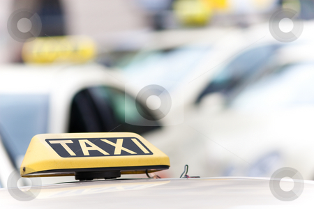 Taxi stock photo, Taxi sign on a car with a shallow depth of field by Jan Martin Will