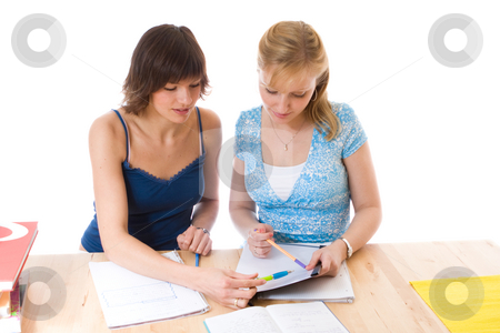 Two females working together stock photo,  by Jan Martin Will