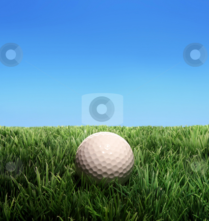 Golf stock photo, Golf ball on a plastic grass by Jan Martin Will