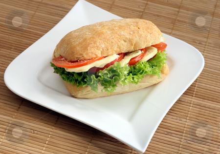 Ciabatta sandwich stock photo, Ciabatta sandwich with mozzarella and tomatoes by Jan Martin Will