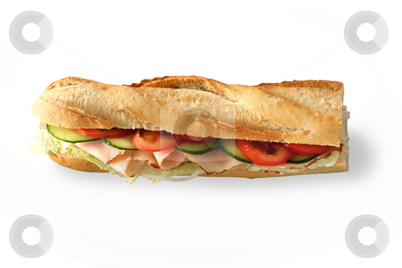 Sandwich baguette stock photo, Baguette against a white background by Jan Martin Will