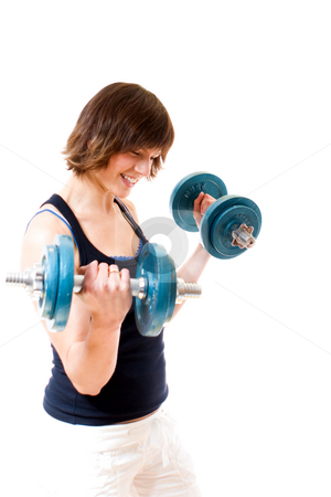 Fitness stock photo, Young woman lifiting weights by Jan Martin Will