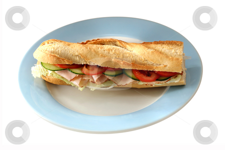 Delicious Baguette stock photo, Baguette with fresh ham, salat, gherkin and tomatoes by Jan Martin Will