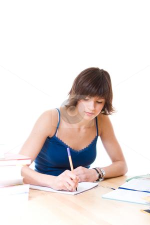 Woman writing report stock photo,  by Jan Martin Will