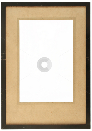 An old wooden photo frame with yellowing card. stock photo, An old wooden photo frame with yellowing card and space to insert a photo. by Stephen Rees