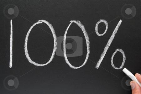 Writing 100 percent on a blackboard stock photo, Writing 100% on a blackboard. by Stephen Rees