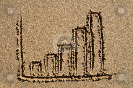 A bar chart drawn on the beach. stock photo, A bar chart drawn on the beach. by Stephen Rees