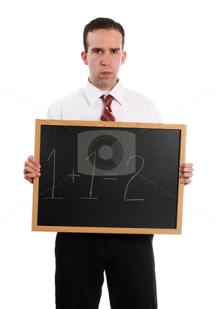 Strict Teacher stock photo, A strict teacher is holding a chalk board with 1+1=2, isolated against a white background by Richard Nelson