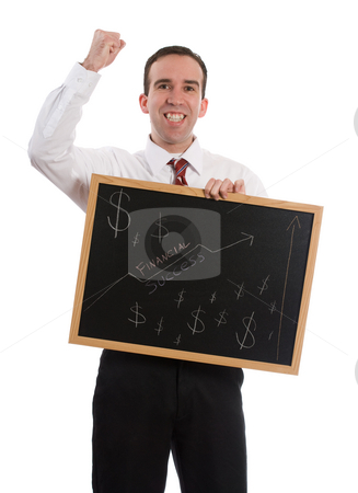 Financial Freedom stock photo, A new business owner is happy he is in the black, isolated against a white background by Richard Nelson