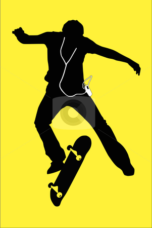 Skateboarder silhouette stock vector clipart, Silhouette of a boy using an mp3 player jumping off his skateboard. Bright colored background. by SuiPhoto