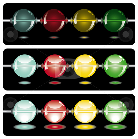 Glowing beads in the dark on three rows stock vector clipart, Glowing beads in the dark from dark to light in three rows usable as web button by Karin Claus