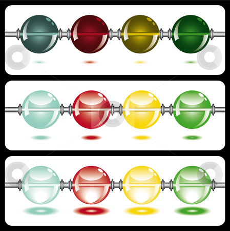 Glowing beads on white on three rows stock vector clipart, Glowing beads on white from dark to light in three rows usable as web button by Karin Claus