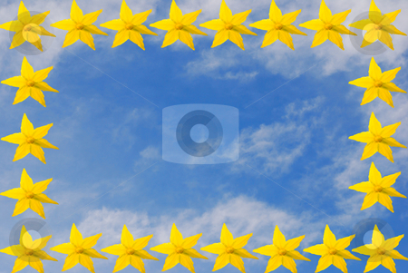 Sky with flowers stock photo, Collage with yellow flowers and blue sky by Wolfgang Zintl