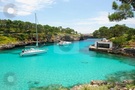 Mallorca stock photo, Beach with Boats on the island Mallorca by Wolfgang Zintl