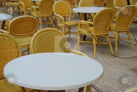 Beer garden stock photo, Beer garden with empty chairs by Wolfgang Zintl
