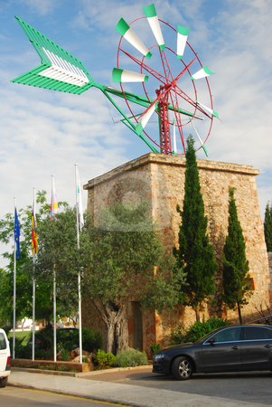 Mallorca stock photo, Wind mill on the island mallorca spain by Wolfgang Zintl
