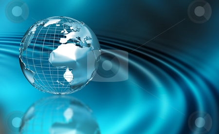 Abstract globe stock photo, 3D render of a wireframe globe on an abstract background by Kirsty Pargeter