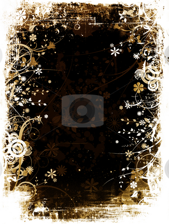 Floral Grunge background stock photo, Abstract floral design on grunge background by Kirsty Pargeter