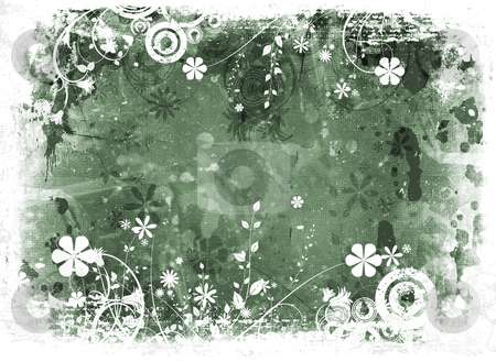 Chaotic floral grunge stock photo, Abstract floral design on grunge background by Kirsty Pargeter