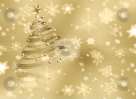 Christmas background stock photo, Christmas tree on golden snowflake background by Kirsty Pargeter