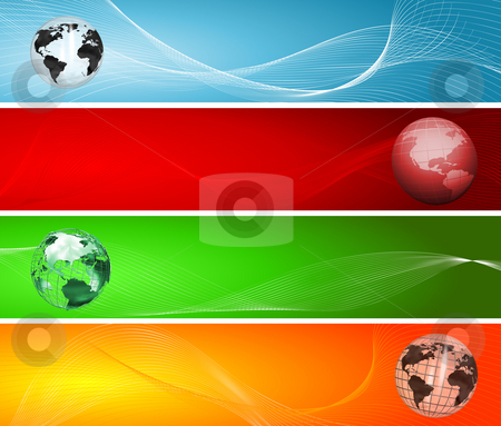 Globe backgrounds stock photo, Various styles of globes on abstract backgrounds by Kirsty Pargeter