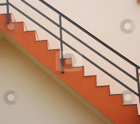 Stairs stock photo, nice red stairs on a pink wall by Wolfgang Zintl