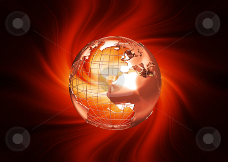 Abstract globe stock photo, 3D render of a wireframe globe on fiery background by Kirsty Pargeter