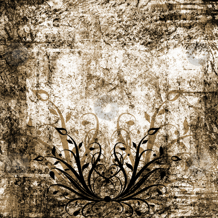 Floral grunge stock photo, Floral design on grunge background by Kirsty Pargeter