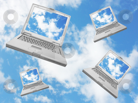 Falling laptops stock photo, Laptops falling from a blue sky by Kirsty Pargeter
