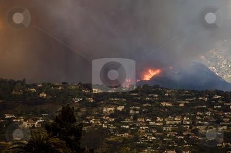 Fire Flames in Santa Barbara California stock photo, Firestorm races up a hillside in Santa Barbara California during the Juesita Fire of May 09. by Bill Robbins