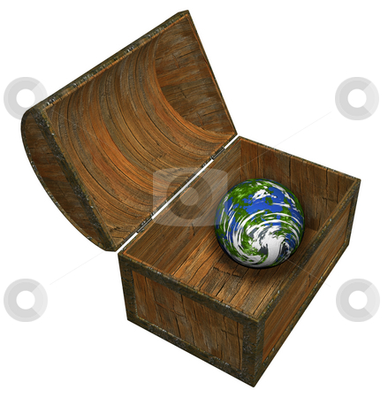 Earth in treasure chest stock photo, 3D render of the Earth in a treasure chest by Kirsty Pargeter