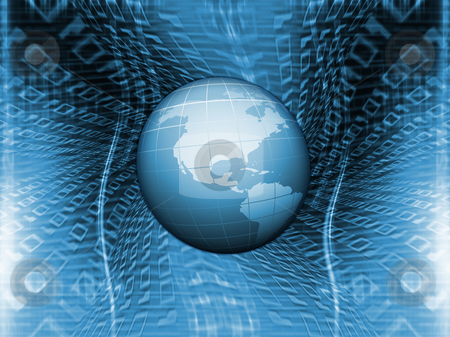Binary world stock photo, 3d render of globe on binary code background by Kirsty Pargeter