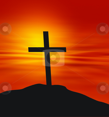 Faith stock photo, Cross against a sunset background by Kirsty Pargeter