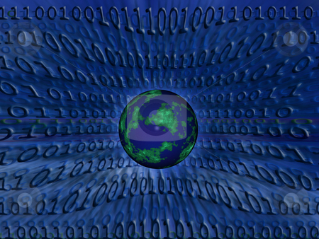 Binary world stock photo, Abstract binary code background by Kirsty Pargeter