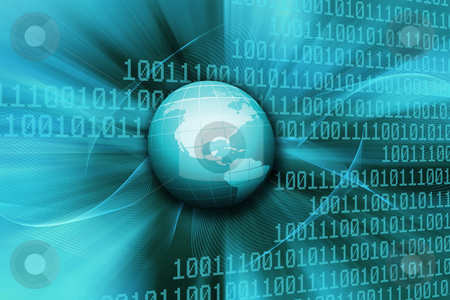 Binary world stock photo, Globe on abstract binary code background by Kirsty Pargeter