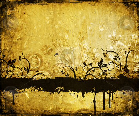 Floral Grunge background stock photo, Floral grunge design on grunge background by Kirsty Pargeter