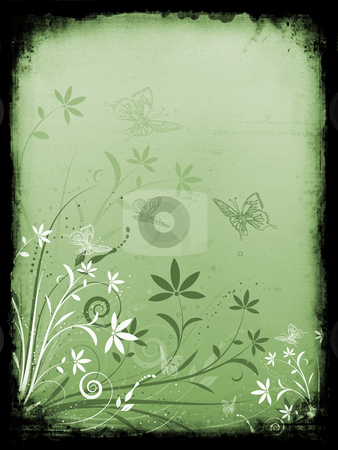 Floral grunge background stock photo, Abstract floral design with butterflies on grunge background by Kirsty Pargeter