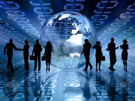 Business people stock photo, Silhouettes of business people on abstract binary code background by Kirsty Pargeter