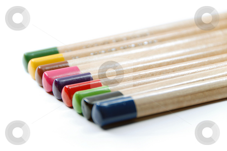 Color pencils stock photo, Color pencils closeup isolated on white background by Gjermund Alsos
