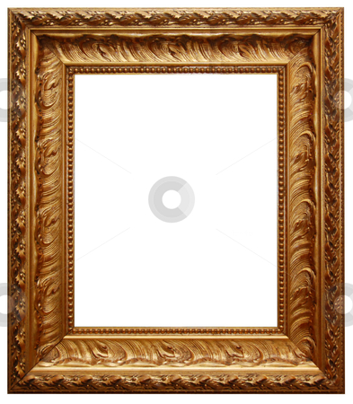 Classic gold frame stock photo, Classic gold ornate frame isolated on white background by Gjermund Alsos