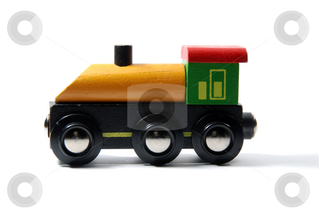 Locomotive toy stock photo, Yellow, green and red locomotive isolated on white background by Gjermund Alsos