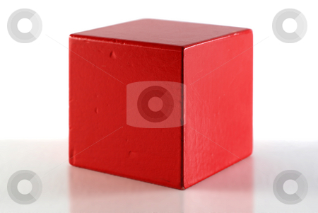 Red cube stock photo, Single red cube on reflective surface. White backround. by Gjermund Alsos