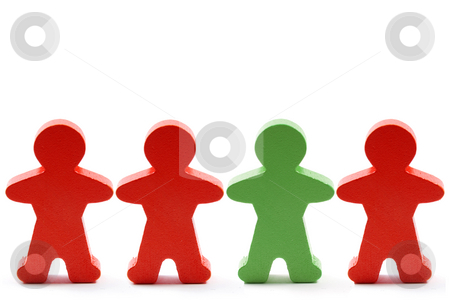 Standing out in a crowd stock photo, One green and three orange wooden men in a row. by Gjermund Alsos