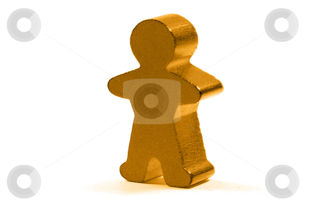 Golden man stock photo, Single golden man isloated on white background by Gjermund Alsos