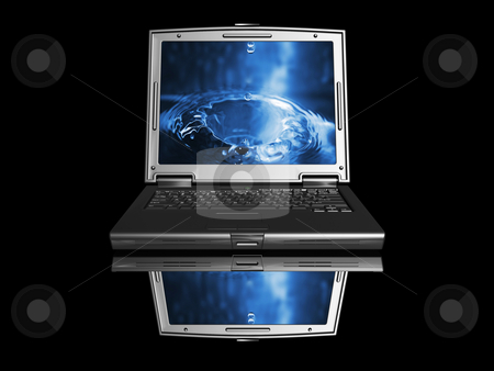 Laptop with water drop stock photo, 3D render of a black laptop with water drop image on screen by Kirsty Pargeter