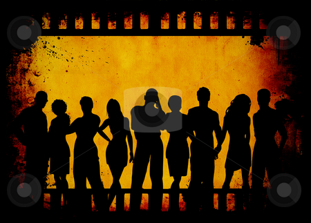 Grunge youth stock photo, Group of young people on grunge film strip background by Kirsty Pargeter